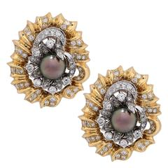 1980s Tahitian Pearl 3.5 Carats Diamonds Gold Ear Clips