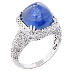 10.48 Carat Natural Sugarloaf Sapphire and Diamond White Gold Ring
