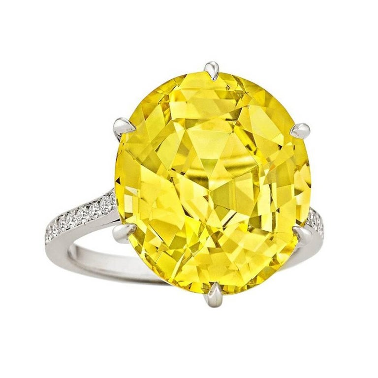 Rare Handmade Yellow Sapphire Diamond Platinum Ring For Sale