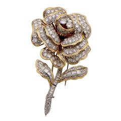 1960s Flower Brooch Diamond Gold