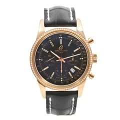 Breitling Rose Gold Diamond Bezel Transocean Chronograph Wristwatch