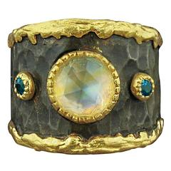 Victor Velyan Moonstone Apatite Gold Ring