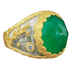 Victor Velyan Green Onyx Diamond Silver Gold Ring