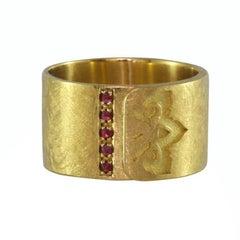 Luca Jouel Ruby 18ct Yellow Gold Ikon Ring