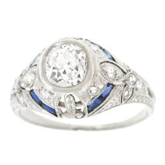 Art Deco 1.07 Carat Diamond and Sapphire Set Platinum Ring