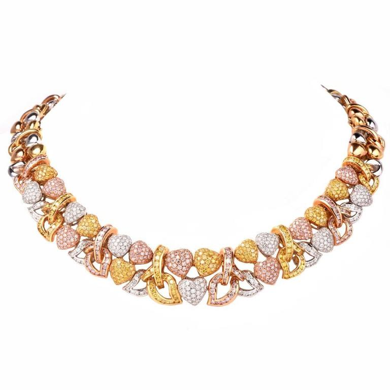Natural Fancy Pink and Yellow GIA Diamond Gold Heart Necklace For Sale