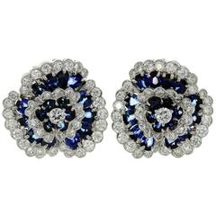 Van Cleef & Arpels Blue Sapphire Diamond Platinum Camellia Clip-on Earrings