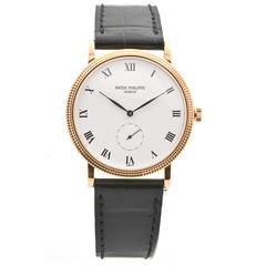 Patek Philippe Rose Gold White Dial Calatrava Wristwatch