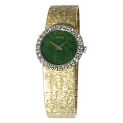Piaget Lady's Yellow Gold Jade Dial Diamond Bezel Wristwatch