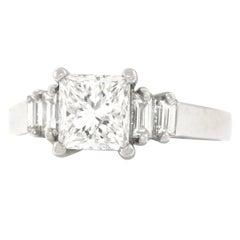 Princess-Cut 1.51 Carat Diamond and Platinum Engagement Ring GIA