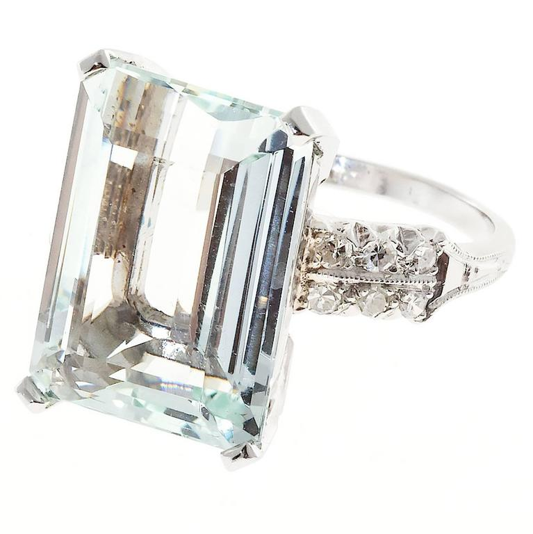 Art Deco 10.60 Carat  Aquamarine Diamond Platinum Ring 1