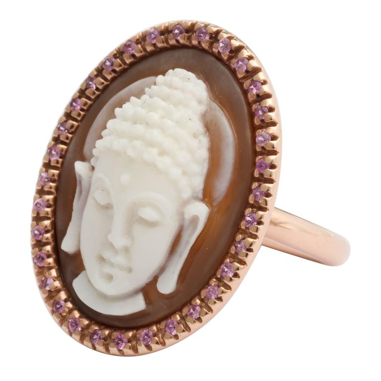 """AMEDEO """"Buddha"""" Cameo Ring with Sapphires"""