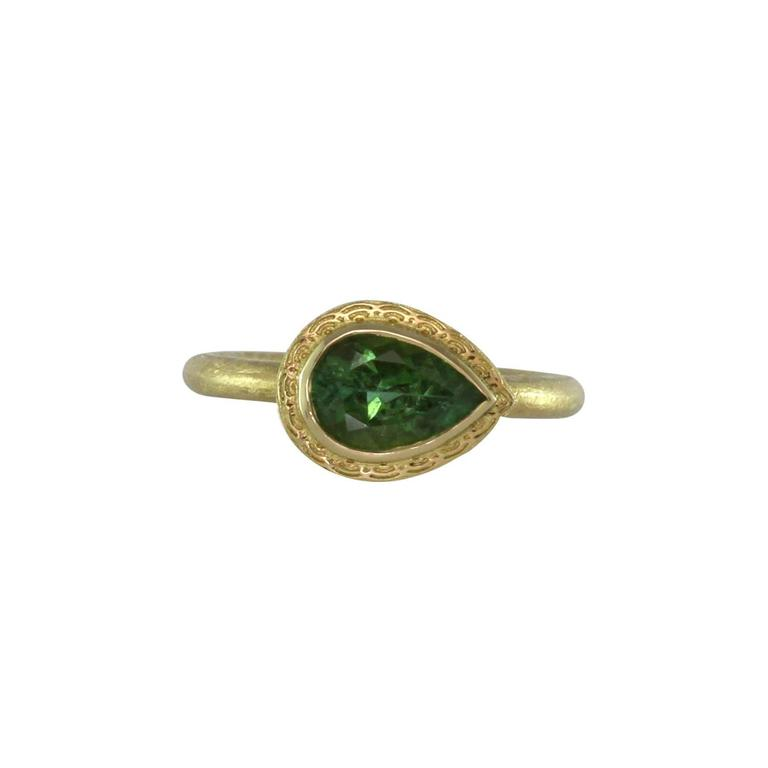 Green Tourmaline and Gold Dress Ring 1