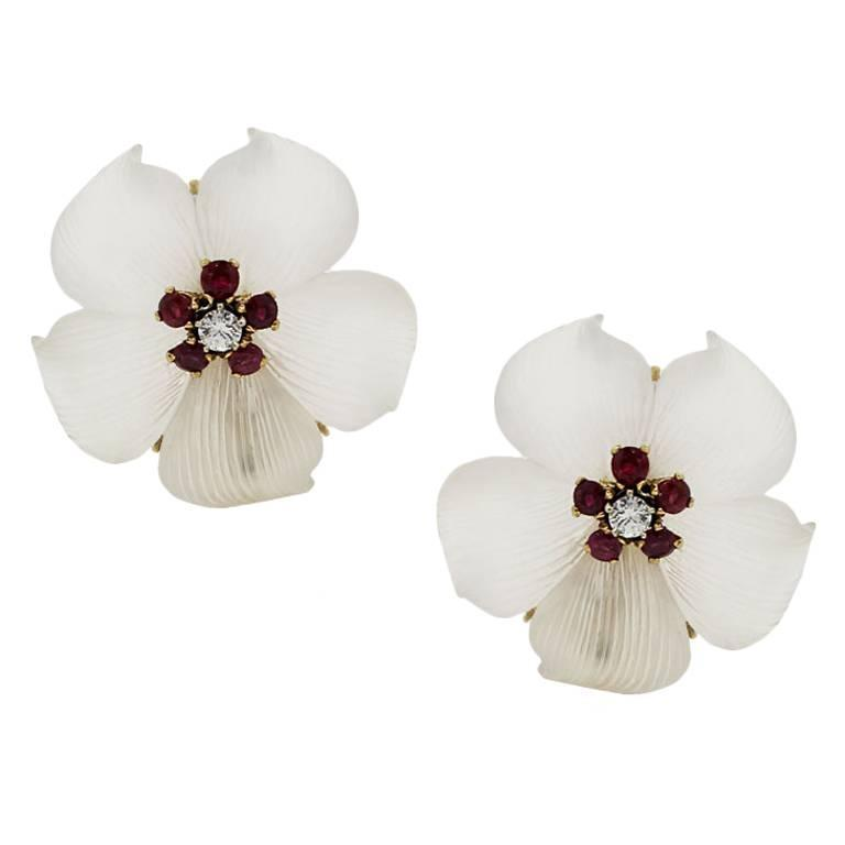 Tiffany & Co. Ruby Crystal Diamond Gold Flower Earrings