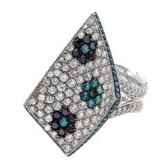 Palmiero White and Blue Diamond Gold Ring