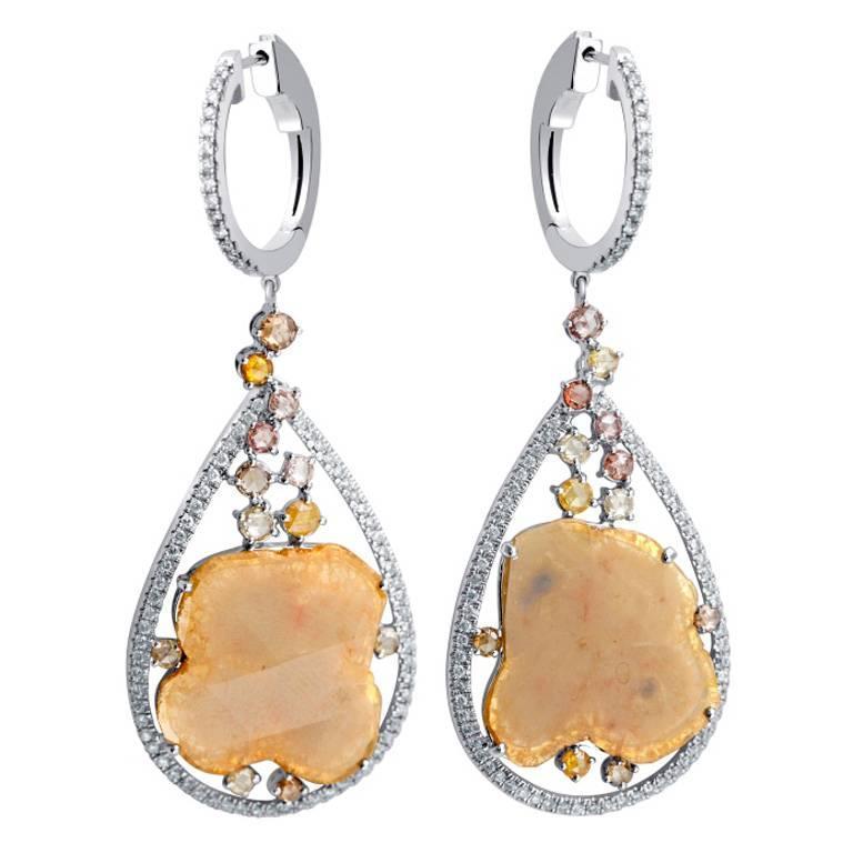 Slice Yellow Diamond Gold Earrings
