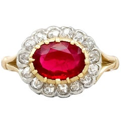 Antique 1.50 Carat Ruby Diamond Yellow Gold Cluster Ring