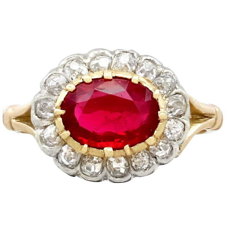1.50Ct Ruby Diamond Yellow Gold Cluster Ring - Antique