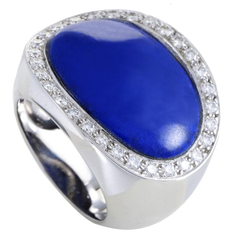 Van Cleef & Arpels Lapis Lazuli Diamond Gold Ring