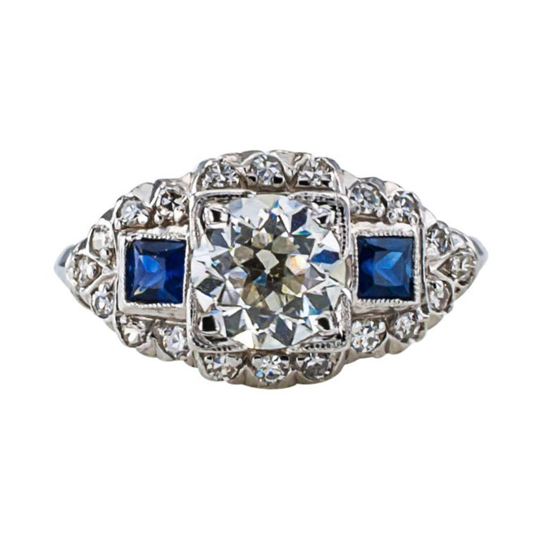 Old European Cut Art Deco Sapphire Diamond Platinum Engagement Ring For Sale