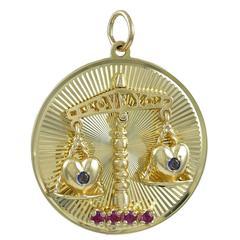 Libra Gemset I Love You Gold Charm