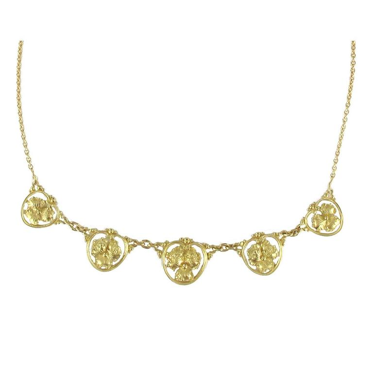 French Gold Pansy Drapery Necklace