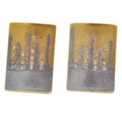 Michael Zobel Diamond Gold Platinum Earrings