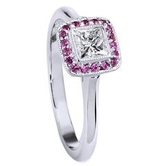 Pink Sapphire and Diamond White Gold Ring