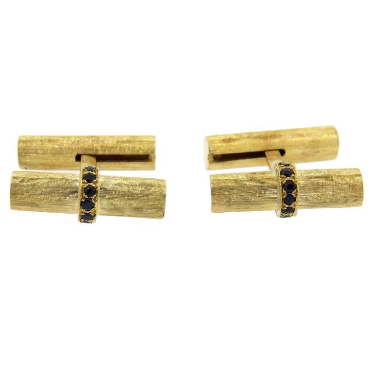 Mid Century Sapphire Gold Bar Cufflinks