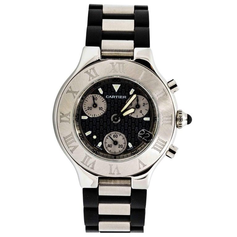 Cartier Stainless Steel Chronograph Quartz Wristwatch Ref A3733011