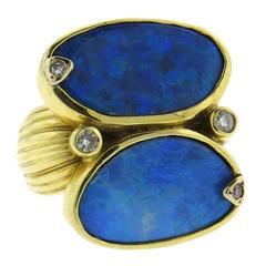 Modern Australian Black Opal Diamond Gold Ring