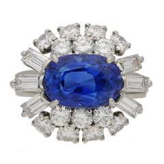 Cartier Paris 1960s Natural Unenhanced Sapphire Diamond Ring