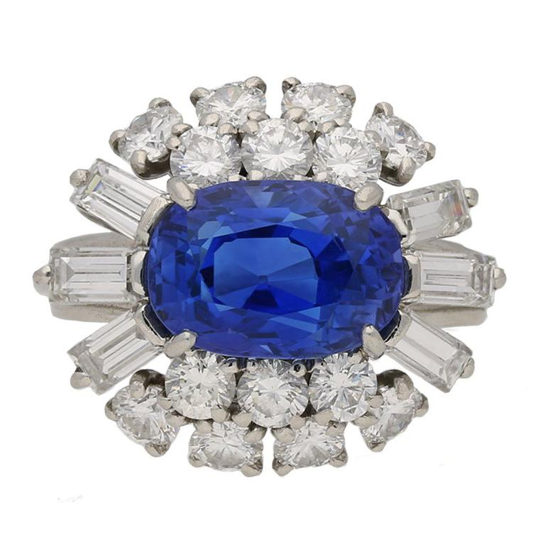 Cartier Paris 1960s Natural Unenhanced Sapphire Diamond Ring