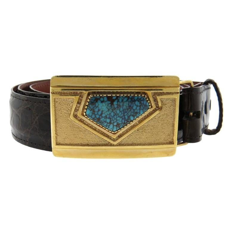 larry golsh american turquoise gold buckle