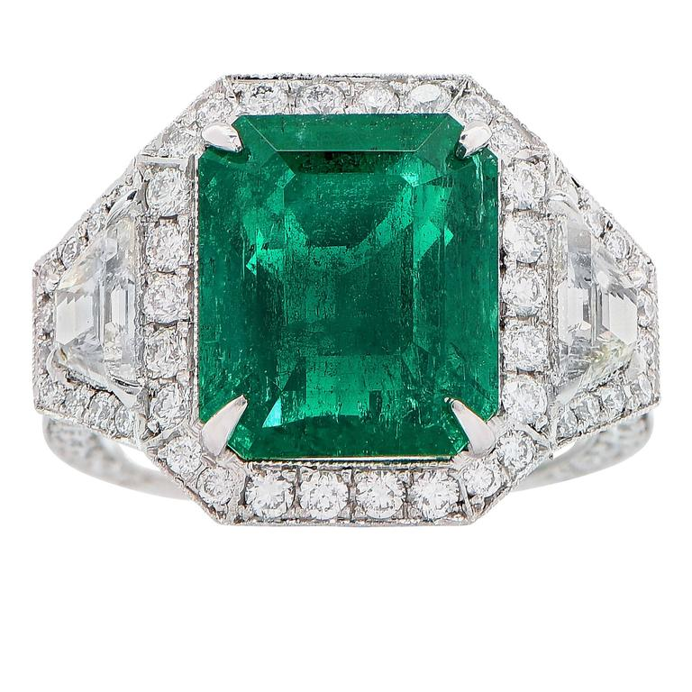 6.10 Carat AGL Graded Untreated Colombian Emerald Diamond Platinum Ring