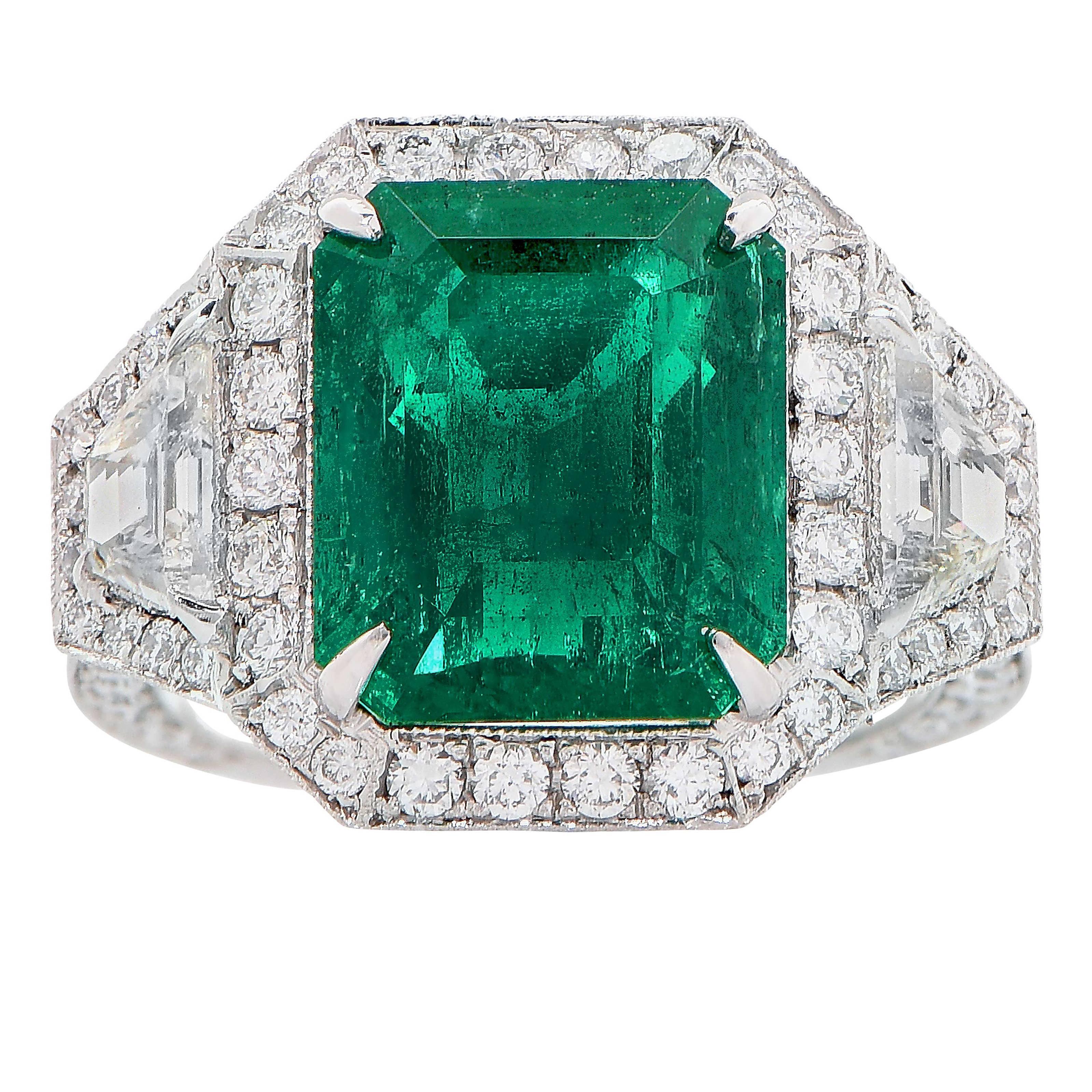6.10 Carat AGL Graded No Oil Colombian Emerald Diamond Platinum Ring