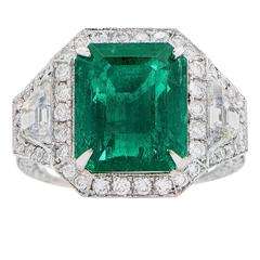 6.10 Carat AGL Graded Untreated Colombian Emerald Diamond Platinum Ring