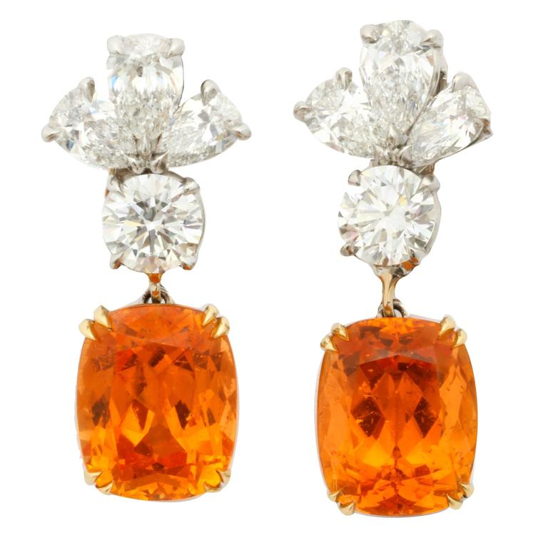 Finest Mandarin Garnet Diamond Platinum Earrings For