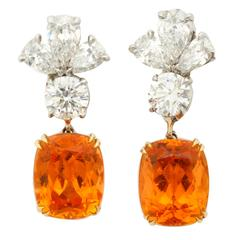 Finest Mandarin Garnet Diamond Platinum Earrings