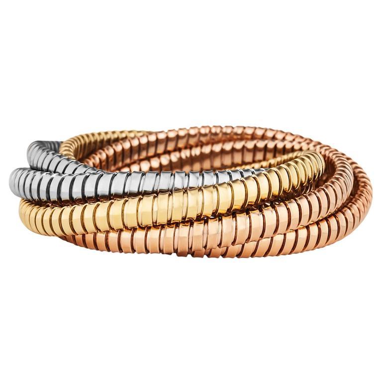 Handmade Tri Color Gold Six Strand 6 5 Mm Tubogas Rolling Bangle Bracelet For