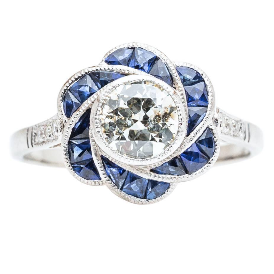 flower shape sapphire and diamond engagement ring in platinum for sale at 1stdibs. Black Bedroom Furniture Sets. Home Design Ideas