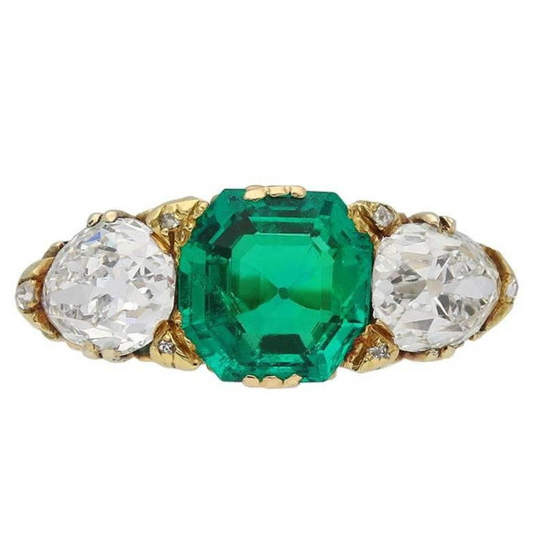 Antique Natural Unenhanced emerald & diamond carved ring, English, circa 1890.
