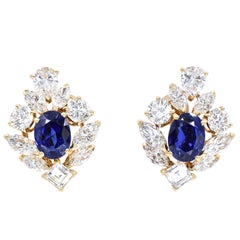 Cartier GIA Burma No Heat Sapphire Diamond Earrings