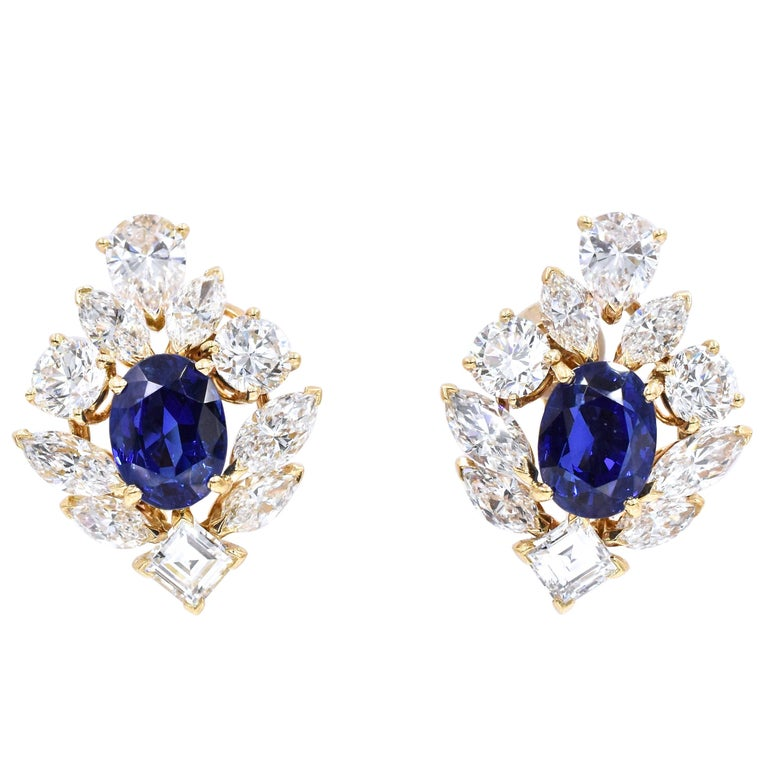 Cartier GIA Burma No Heat Sapphire Diamond Earrings For Sale