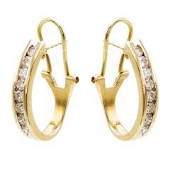 Classic Diamond Gold Oval Hoop Earrings
