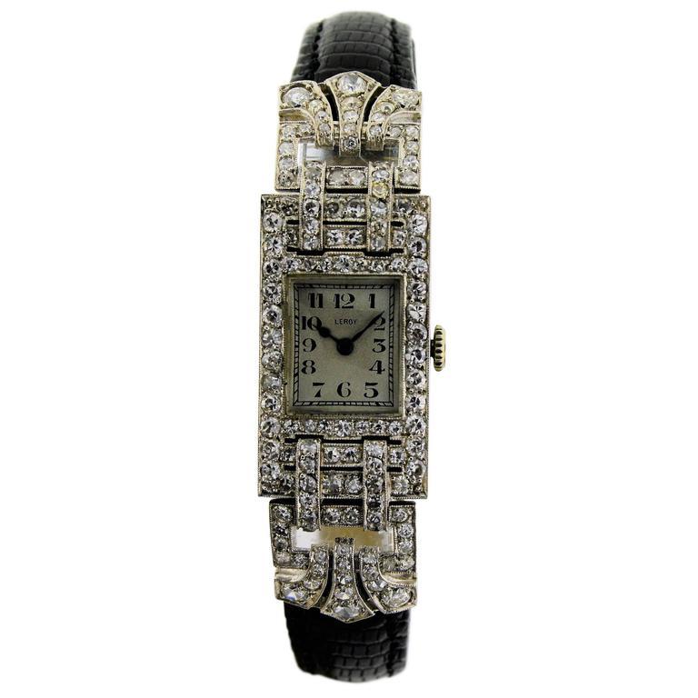 Leroy Ladies Platinum Art Deco Articulated Dress Watch