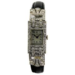 Leroy Ladies Platinum Art Deco Articulated Dress Wristwatch