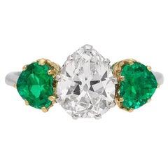 1920s Drop Shape Natural Unenhanced Emerald Old Mine Diamond Ring