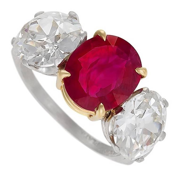 Burma Ruby Diamond Platinum Three-Stone Ring