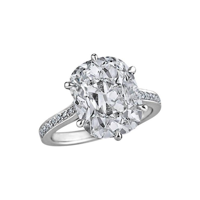 Art Deco 6.12 Carat GIA Certified Cushion Cut Diamond Platinum Engagement Ring